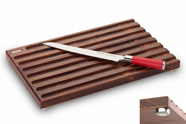 Brotschneidebrett Nussbaum inkl. Brotmesser Red Spirit